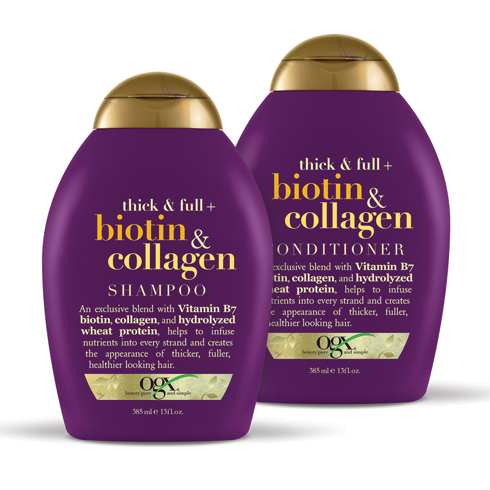 OGX Thick & Full + Biotin & Collagen Shampoo & Conditioner Set 13oz , 2 Ct