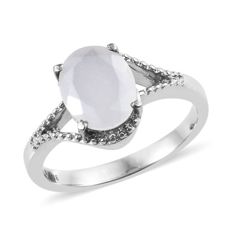 Stainless Steel Oval White Moonstone Statement Ring for Women Cttw 2.5 Jewelry - Oval Genuine Moonstone Ring