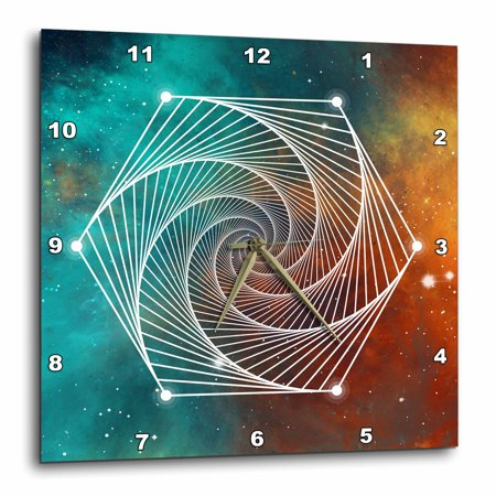 Octagon Wall Clock - 3dRose Sacred Octagon Geometry On A Teal and Orange Galaxy Background - Wall Clock, 10 by 10-inch