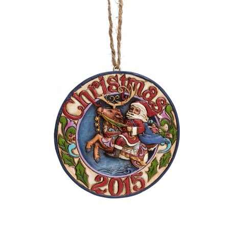 Heartwood Creek Christmas Collection 4047763 Santa On Reindeer 2015 Dated Hanging Ornament