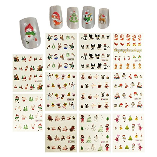 Wrapables® Christmas Water Slide Nail Art Decals Water Transfer Nail Decals (11 designs/220 Nail Decals)