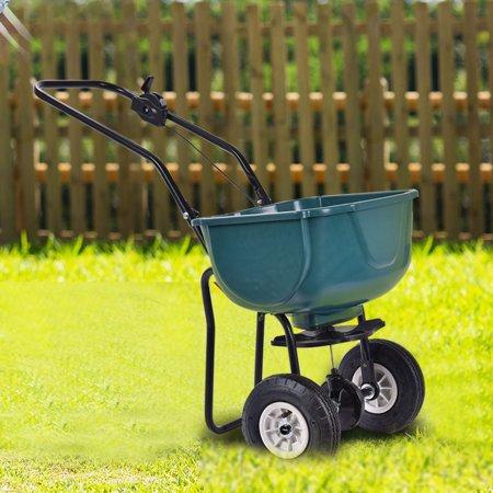 seed grass spreader fertilizer broadcast push cart lawn garden home backyard - Walmart Lawn And Garden