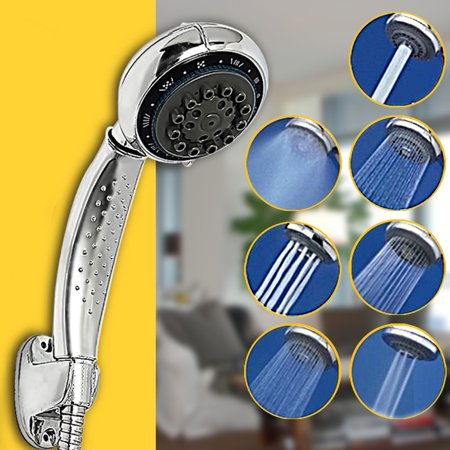 (NO WATER PIPE) 7 Function Handheld Shower Head ABS Chrome Water Saving Pressure Sprayer Sprinkler for Bathroom Washing Hair Pet Dog Hair Home Bath Faucet Replacement (Maximum Number Of Sprinkler Heads Per Zone)