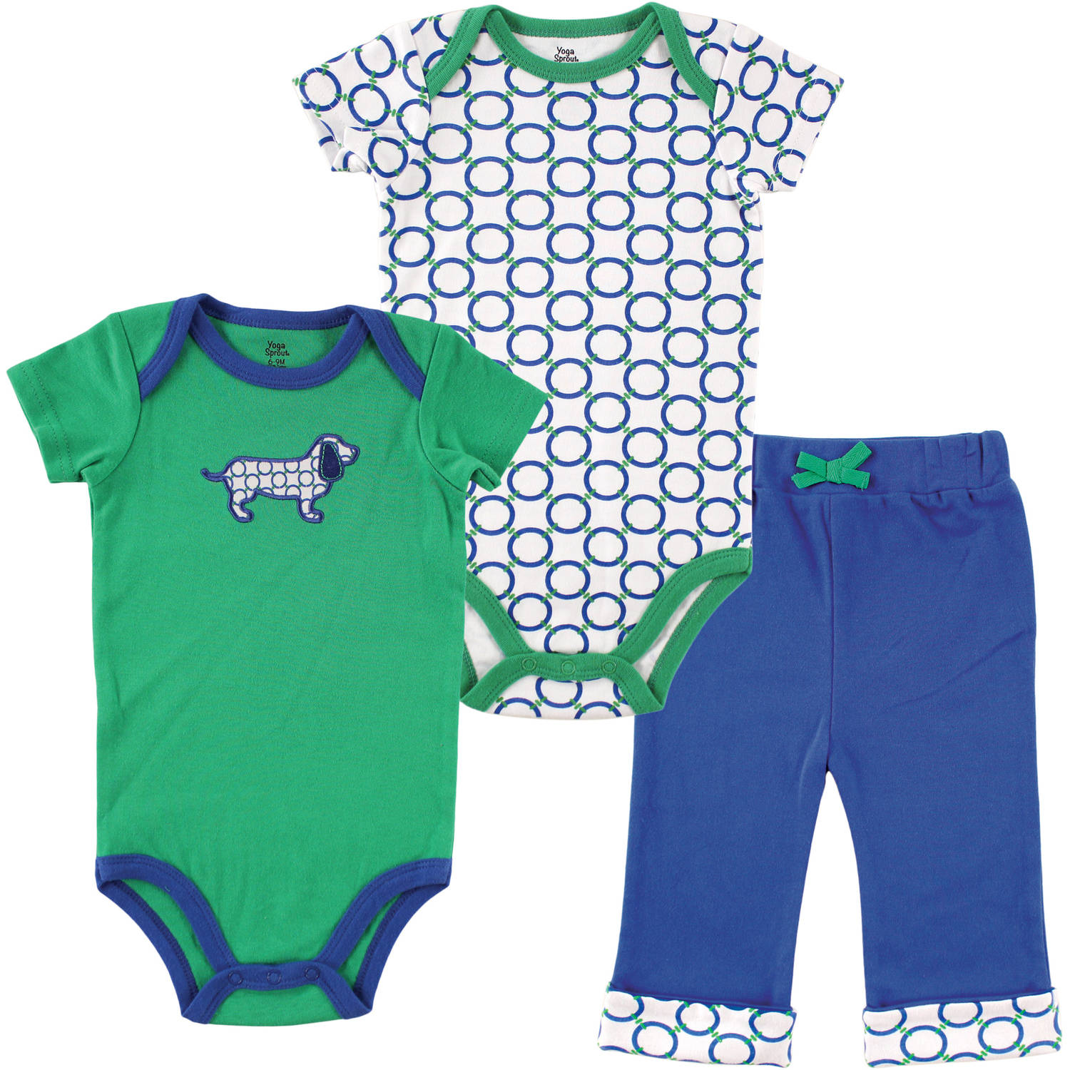 Yoga Sprout Newborn Baby Boys 2 Bodysuits & Pant - Dog