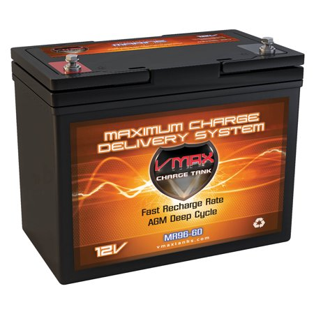 VMAX MR96-60 12V 60Ah AGM Deep Cycle Battery for MotorGuide X3-55FW Hand/Foot Control Pontoon Digital 55lbs 12V Trolling