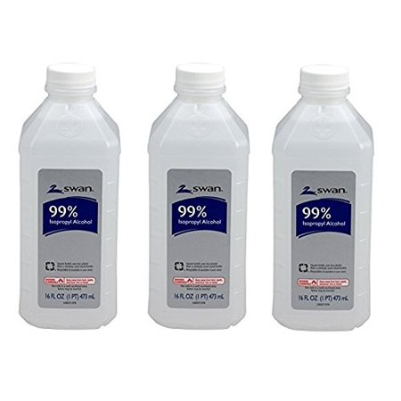 Isopropyl Alcohol, 99%, Pint, Special Pack of 3Pack (16 oz *3 ), 99% Isopropyl Alcohol for topical antimicrobial needs By Swan