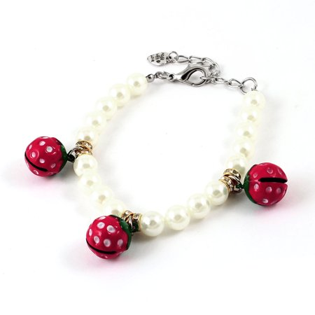 Lobster Clasp Red Bell Accent Off White Faux Pearl Linked Pet Dog Necklace S (Off White Pearl)
