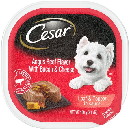 CESAR Wet Dog Food Loaf & Topper in Sauce Angus Beef Flavor With Bacon & Cheese, 3.5 oz. - Savory Beef Flavor