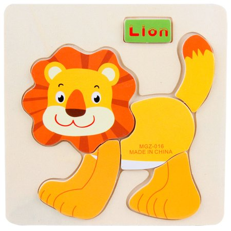 - 1PC Wooden Lion Puzzle Educational Developmental Baby Kids Training Toy C