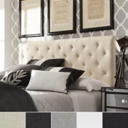 TRIBECCA HOME Sophie Tufted King-sized Upholstered Headboard White Faux Leather