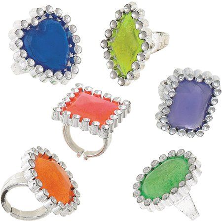 Plastic Gem Ring Party Favors, Assorted, 12ct - Batgirl Party Favors