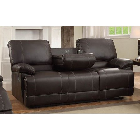 Drop Down Center - Leather Double Reclining Sofa With Drop Down Cup Holders, Dark Brown