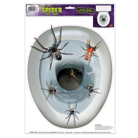 Club Pack of 12 Spider Toilet Topper Peel 'N Place Halloween Decorations (Toilet Toppers)