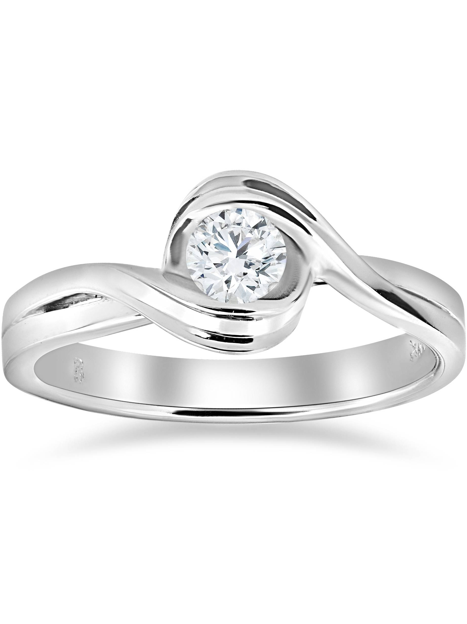 1 2 ct Solitaire Diamond Engagement Ring 14k White Gold Round Cut Jewelry by Pompeii3