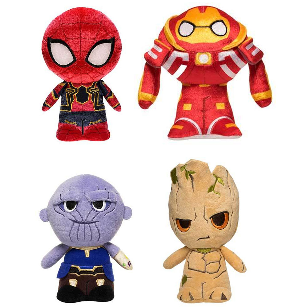 Funko Hero Plushies Avengers: Infinity War SET OF 4 (Groot, Iron Spider, Thanos & Hulkbuster) by Funko