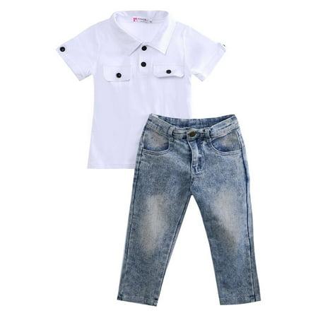 2pcs Fashion Cool Boy Toddler Kids Baby Boy T-shirt Top+Jeans Pants Trousers Clothes Outfits Sets ()
