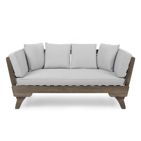 Otto Outdoor Acacia Wood Daybed with Light Grey Water Resistant Cushions, Grey ()