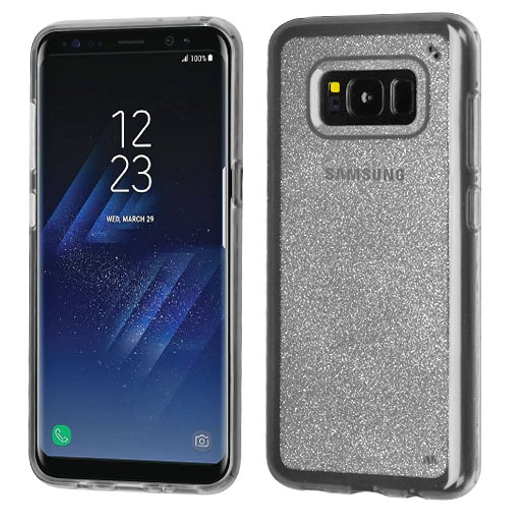 Insten Transparent Sheer Glitter Premium TPU Candy Skin Case For Samsung Galaxy S8+ S8 Plus - Clear (Bundle with USB Type C Cable)