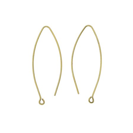 Nunn Design Earring Findings, Open Oval Hoop Ear Wire with Loop 15.5x44mm, 1 Pair, Antiqued Gold Ear wire earring findings from the Elements of Inspiration collection by Nunn Design.  Brass plated with 24k gold in an antiqued finish. These earring findings are large oval drop shaped hoops.  Measurements: 56mm long and 38mm wide. The wire is 20 gauge (0.8mm / 0.031 ). The loop has an inner diameter of 1.6mm. Quantity: 1 Pair