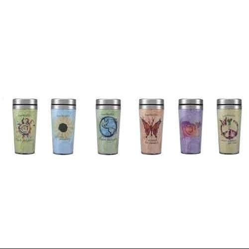 """Set of 6 """"Love This Life"""" Colorful Inspirational Message Travel Mugs - 16 ounce"""