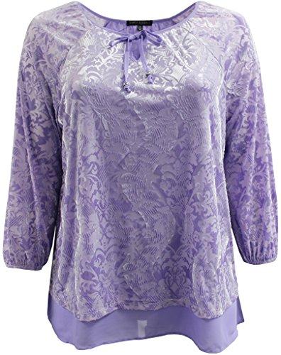 Plus Size Women Stylish Velvet Design Winter Fall Top Shirt Blouse Sweater Purple 3X (16.021)