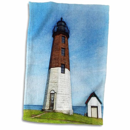 3dRose Painted Lighthouse On Grassy Hill - Towel, 15 by 22-inch