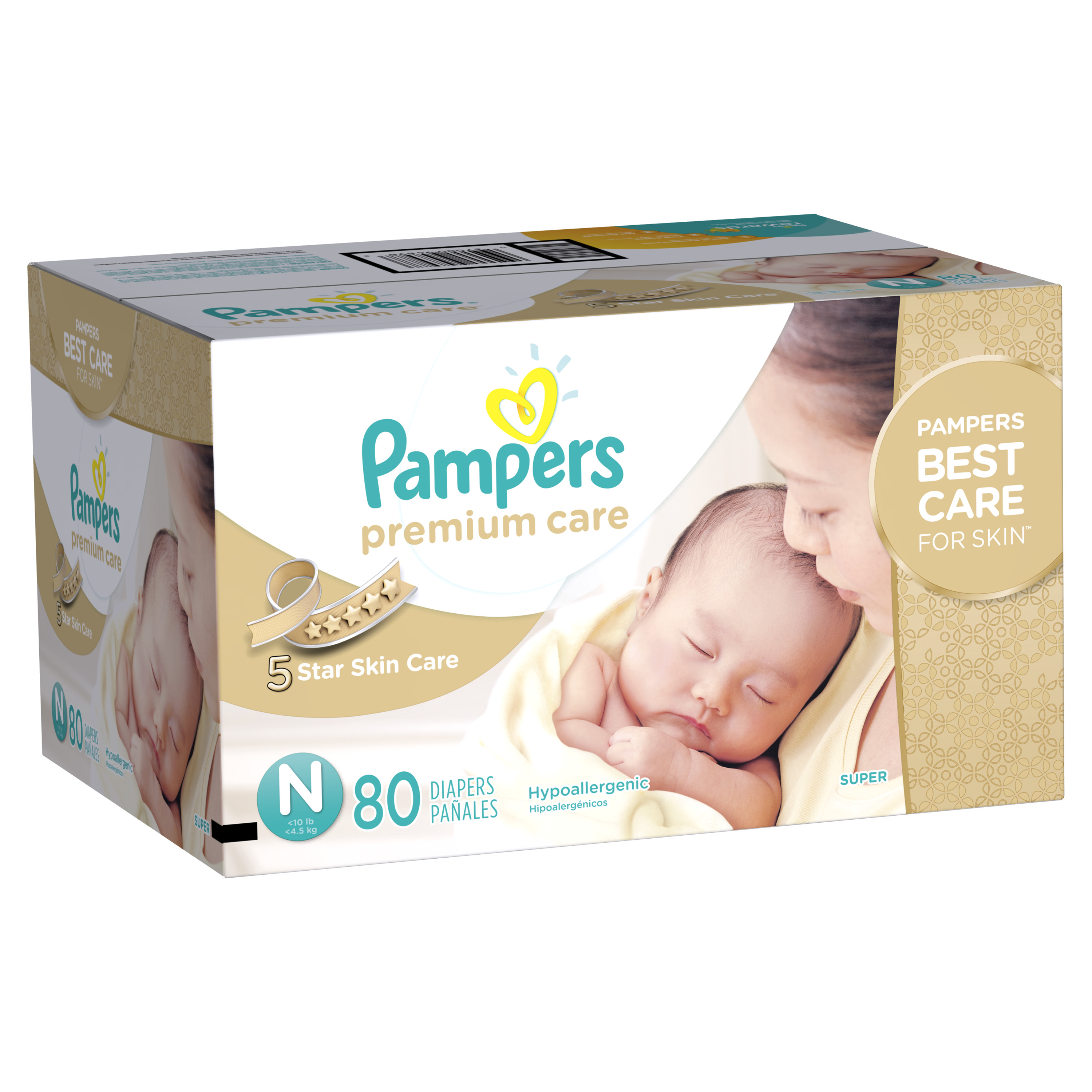Pampers Premium Care Newborn Diapers Size N, 80 Diapers
