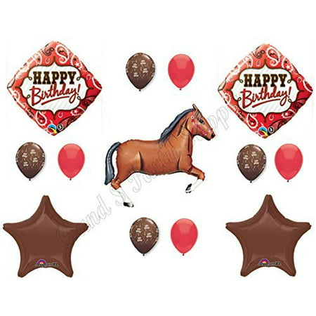 BROWN HORSE & BANDANA Happy Birthday Balloons Decoration Supplies Western Rodeo - Horse Birthday