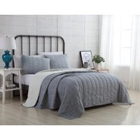 VCNY Home Geometric Embroidered Stripe 2/3 Piece Reversible Faith Bedding Quilt Set, Multiple Colors and Sizes Available