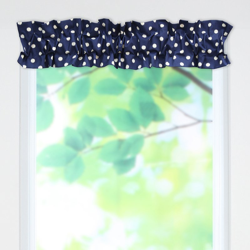 Brite Ideas Living Ikat Dot Sunshine Blue-Natural Sleeve Topper Valance
