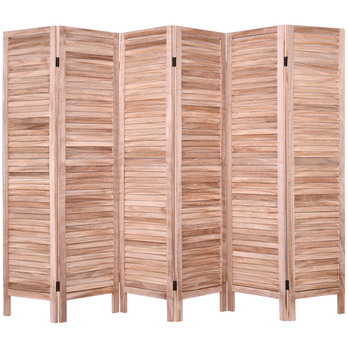 Costway 67'' High 6 Panel Room Divider Furniture Classic Venetian Wooden Slat Home
