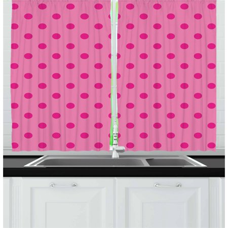 Hot Pink Curtains 2 Panels Set, Classical Simplistic Pattern Design with Small Pink Dots Spots Girlish Style, Window Drapes for Living Room Bedroom, 55W X 39L Inches, Pink Hot Pink, by