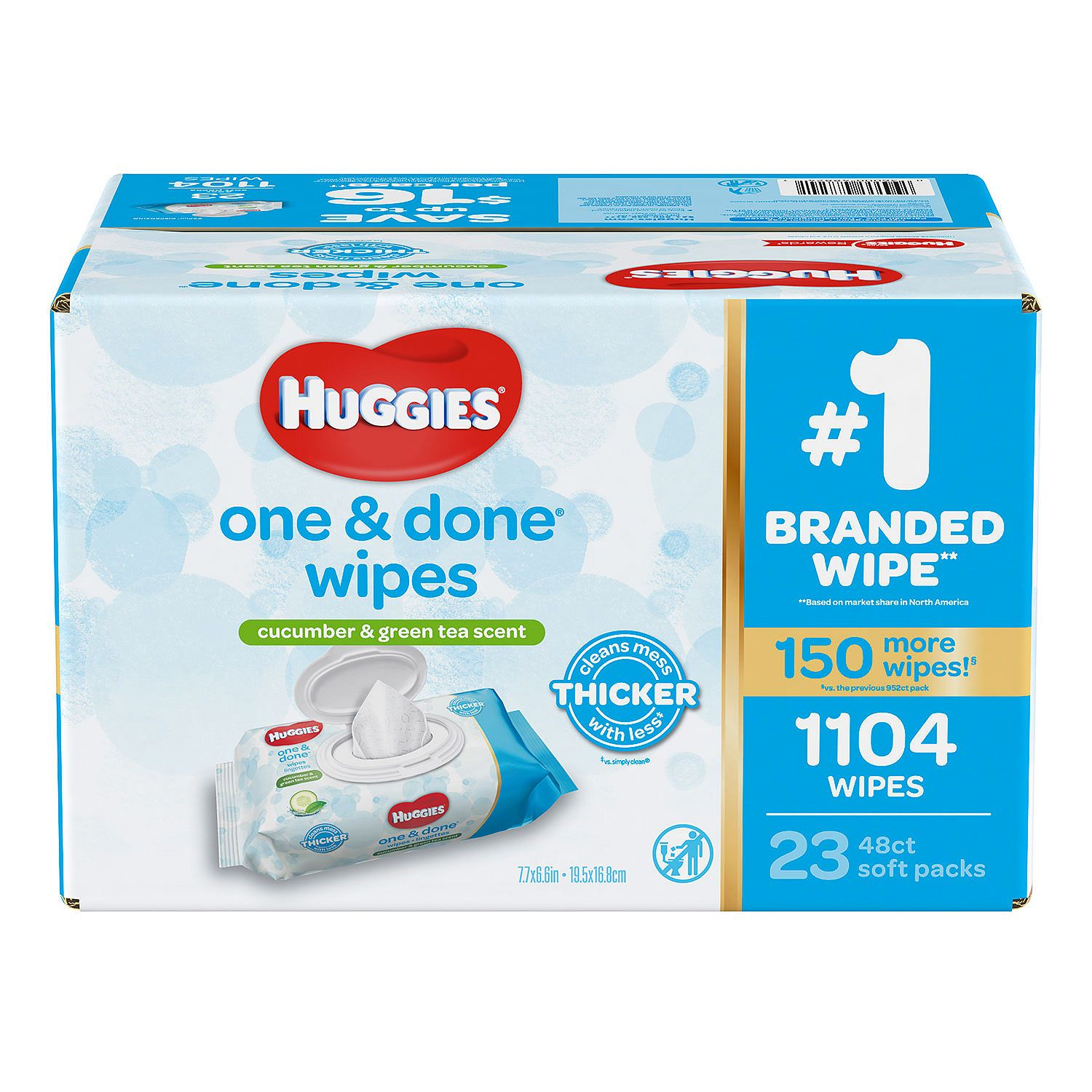 Huggies One & Done Baby Wipes, Cucumber & Green Tea Scented (1,104 ct.)