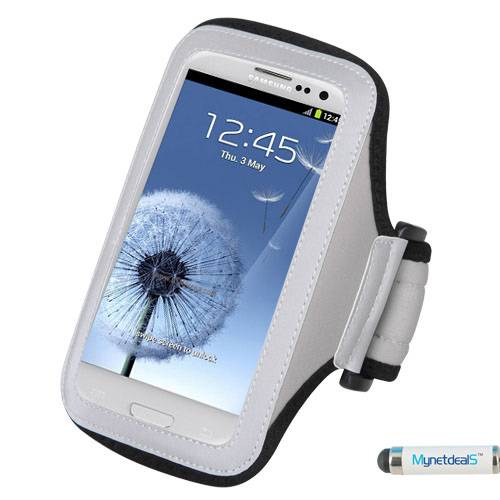 Premium Sport Armband Case for Alcatel OneTouch POP Star 3G 4G- Gray (Grey) + MYNETDEALS Mini Touch Screen Stylus