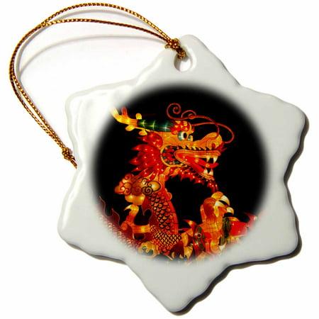 3dRose Silk lantern of the Chinese dragon, Mid Autumn festival, Singapore - Snowflake Ornament, 3-inch