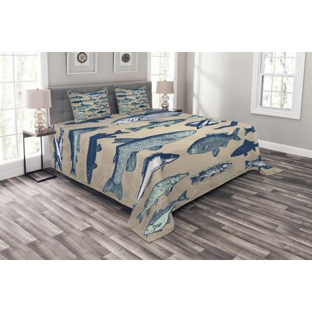Fish Bedspread Set, Vintage Style Collection of Various Different Fish Animals Seafood Theme Grunge Effect, Decorative Quilted Coverlet Set with Pillow Shams Included, Multicolor, by Ambesonne
