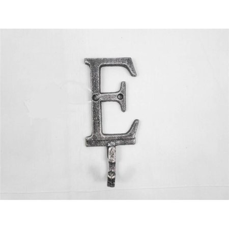 Rustic Silver Cast Iron Letter E Alphabet Wall Hook 6