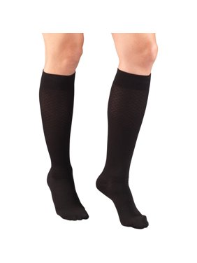 Women's Trouser Socks, Dress Style, Diamond Pattern: 15-20 mmHg, Black, Small