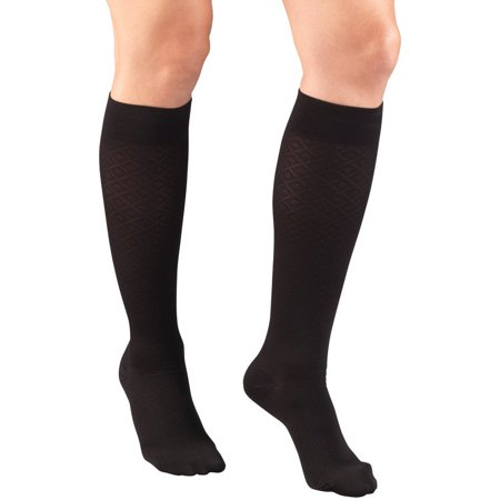 Women's Trouser Socks, Dress Style, Diamond Pattern: 15-20 mmHg, Black, Small Diamond Pattern Trouser Socks