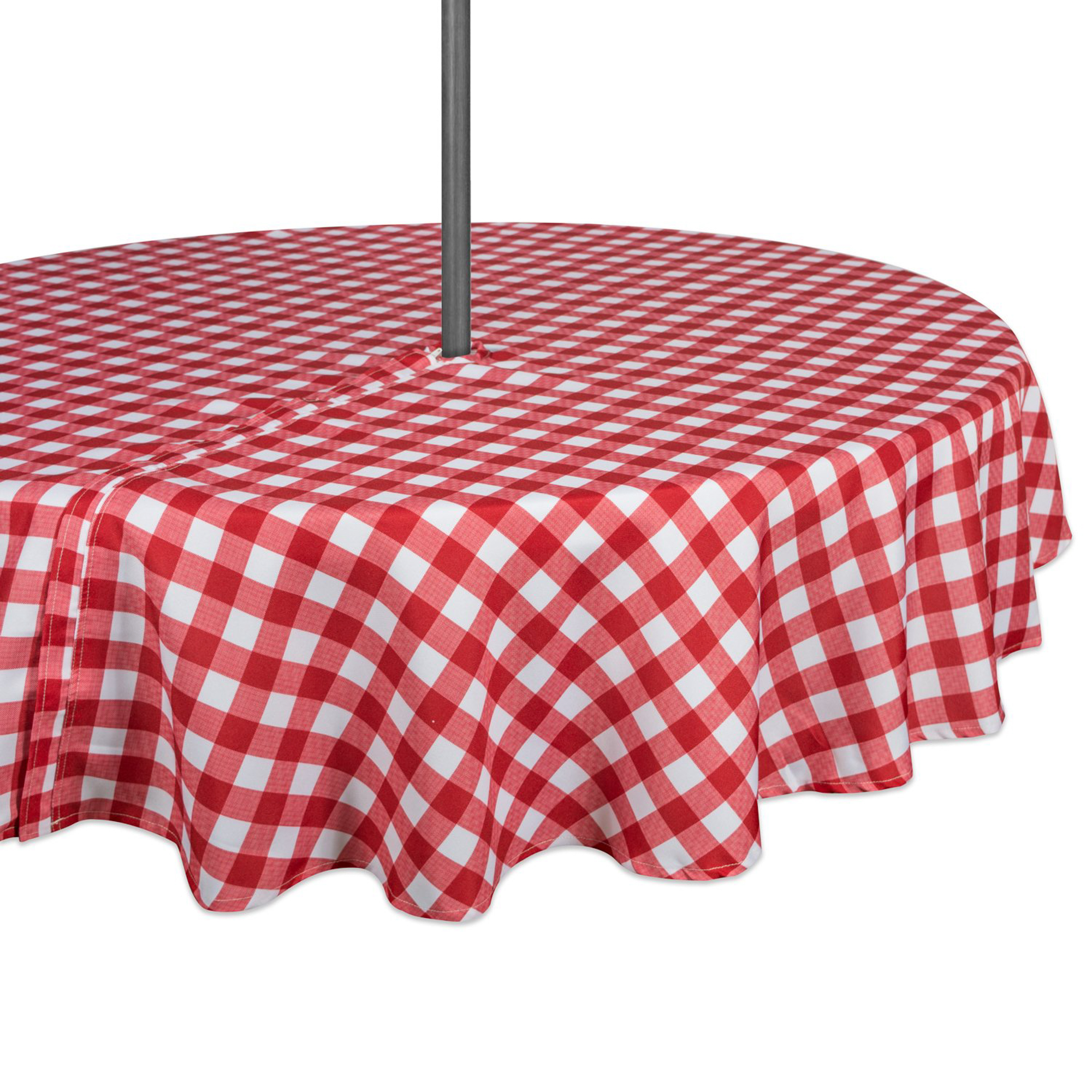 "Design Imports Casual Rectangle Checkers Umbrella Outdoor Tablecloth, 52"" Round, 100% Polyester, Multiple Sizes"
