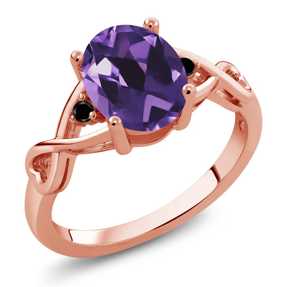 1.72 Ct Oval Purple Amethyst Black Diamond 18K Rose Gold Plated Silver Ring