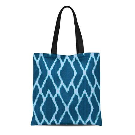 HATIART Canvas Tote Bag Indigo Ikat Diamonds of Denim Blue Chambray Reusable Handbag Shoulder Grocery Shopping Bags - image 1 de 1