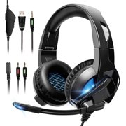 ELEGIANT Gaming Headset, Over-Ear Headphones with Noise Cancelling Microphone and Breathable Ear Pads, Bass Surround Sound & Glowing LED Light, Game Headset for PC PS4 Xbox One Nintendo Switch