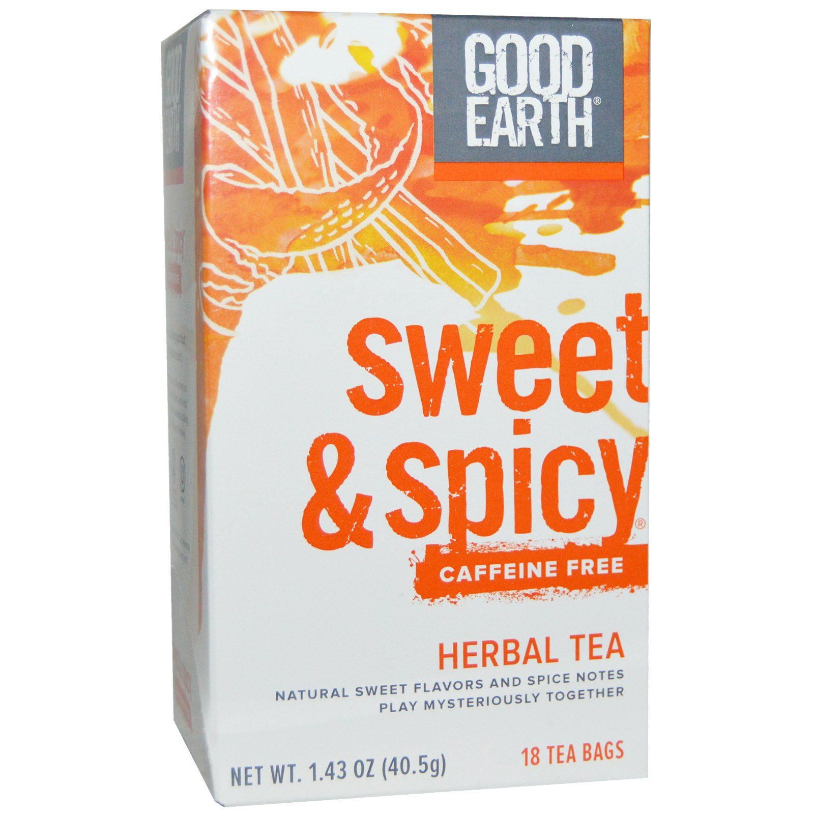 Good Earth Teas, Sweet & Spicy, Caffeine Free, Herbal Tea, 18 Tea Bags, 1.43 oz (pack of 4)