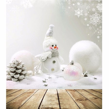 Grtsunsea 5ft x7ft Vinyl Christmas Snowman Wood Board Background Screen Photography Backdrop For Studio Photo Prop (Photography Board)
