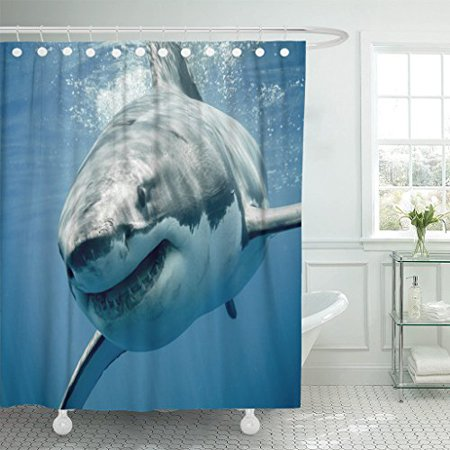 BPBOP Threat Great White Shark Smiling Predator Smile Sea Fear Face Teeth Danger Shower Curtain Polyester Bathroom Curtain 60x72 inches - White Smiling Face