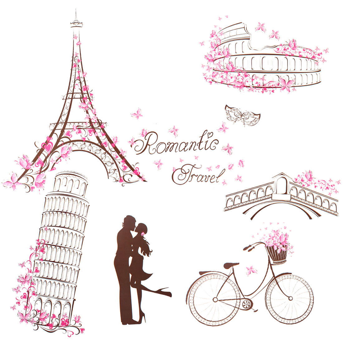 Unique Bargains Lover Bike Butterfly Design Removable Wall Decal Sticker Wallpaper DIY Room Decor
