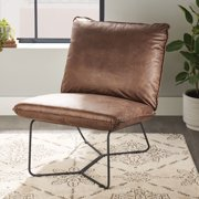 Better Homes & Gardens Pillow Lounge Chair, Brown Faux Leather Upholstery