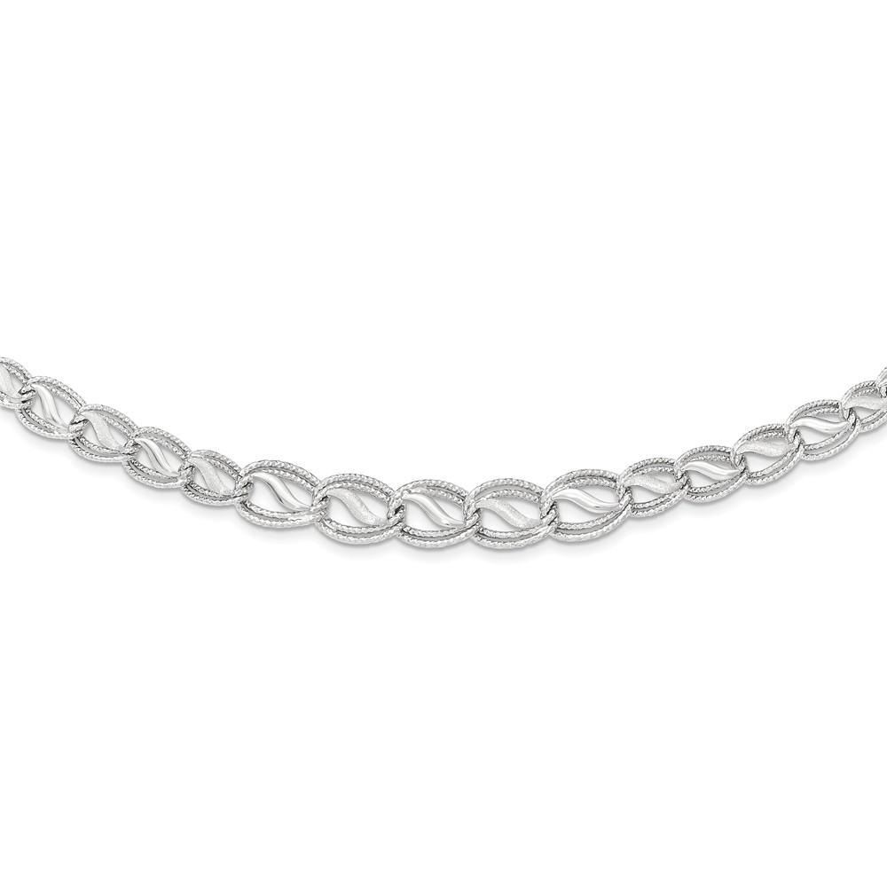 """14K White Gold Diamond-Cut Necklace -17"""" (17in x 11mm) by"""