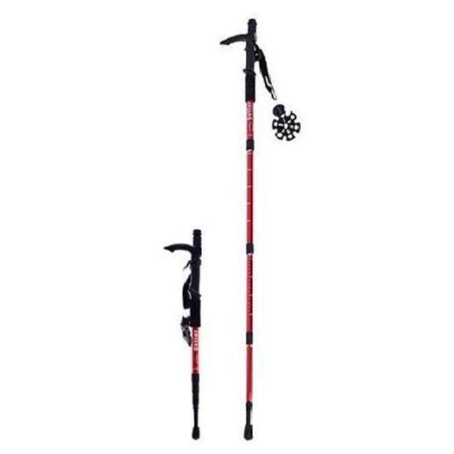 Microgear EC16329-Black Durable Antishock Hiking Cane Adjustable Walking Pole Trekking Stick Red by